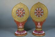 Beautiful Chinese Blue And White Porcelain Gilded A Pair Tokens