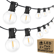100ft 2-pack Outdoor G40 Led Globe String Lights Dimmable Waterproof Shatterproo