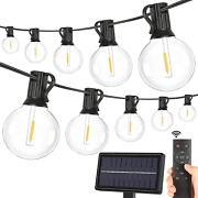 2-pack Solar G40 Dimmable String Lights With Remote Controls 100ft 3 Light Mode