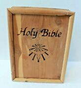 Vintage Union Made Wooden Holy Bible Box United Brotherhood Of Carpenters