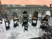 6 Piece Unoaerre Sterling Silver Doll House Chairs Made In Italy