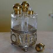 Napoleon Iii Antique French Silver-gilt And Crystal Scent Set Of 3 Bottles Xixe
