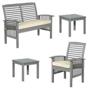 Home Square 4 Piece Patio Set With Loveseat 2 End Tables And A Patio Chair