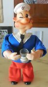 Vintage Wind Up Rubber Tin Toy Popeye Max Carl 1967 Automate