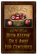 Vintage Style Sign Apples Keepin Drs Away For Centuries 8x14