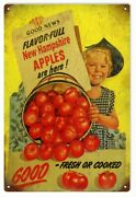 Vintage Style Sign New Hampshire Apples 18 X 12