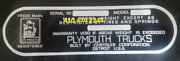 Plymouth Truck Oem Serial Data Plate Number Id Tag Vin Stamping Available