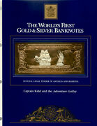23kt Gold And Silver Unc 100 Antigua 1981 - Captain Kidd And The Adventure Galley