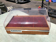 Vintage Jostens College Ring Jewelry Counter Display Case - Lucite And Wood