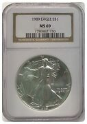 1989 Ngc Ms69 American Silver Eagle 1