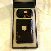 Antique Napoleon Iii French Tortoise Shell Card Ball Book And Coin Purse