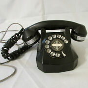 Vintage Electric Phone Company Monophone Black And Chrome Rotary Dial Telephone