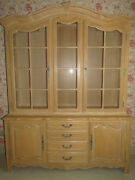 Ethan Allen Country French Lighted Glass China Cabinet 26 6318 Bisque 270 Finish