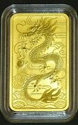 2018 Australian Perth Mint 1ozt Gold Dragon Rectangular Coin- Rare Currency