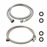 Universal Premium Washing Machine Hoses 6ft Burst Proof 2 Pack For Hot And Co...