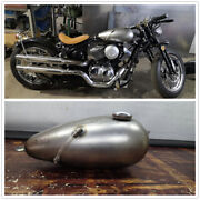 8l Handmade Silver Modified Petrol Gas Fuel Tank With Cap Universal Motorcycle