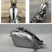 1x 7l Silver Petrol Gas Fuel Tank And Cap/switch Universal For Motorcycle