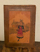 Vintage Signed Hand Tooled And Painted Leather Bible Book Cover - Dutch