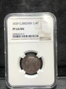 1839 Great Britain 1/4 Penny Proof Pf 64 Bn