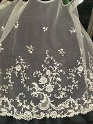 Stunning Antique Handmade Needle Lace Work -edging. 2m By 45cm Floral Design