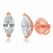 1.0 Ct Marquise Cut Studs Natural Diamond 18k Rose Gold Earrings Screw Back