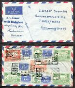 Burma 1959 Airmail Cover To Germany. Multi-franking. Slogan Cancel. ✉