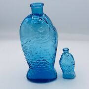 Lot Of 2 Vtg Fischs Bitters 7-1/2 And 3 Turquoise Blue Fish Bottles 1970and039s