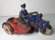1930's Cast Iron Antique Champion Police Cop Motorcycle W/ Sidecar 5