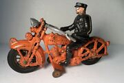 1930and039s Hubley Harley Davidson Solo Orange Motorcycle W/ Rider 9
