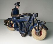 Vintage Cast Iron Champion 7'' Motorcycle Policeman Rider Toy- Blue Hubley