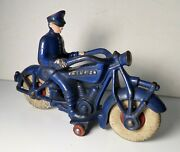 Vintage 1930and039s Cast Iron Antique Champion Police Cop Motorcycle 7