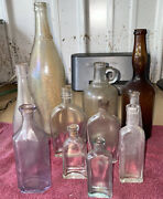 11 Antique Bottles Iridescent Canada Dry 3 In 1 Oil Werners Soda Godfreys More