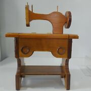 Wooden Sewing Machine Small Storage Area Hinged Lid Handmade 18h X 15l X 8w