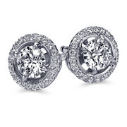 Real Diamond Halo Earrings 14k White Gold 1.21 Ct Si1 D 30351543