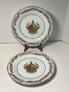 Antique 19th C Chinese Export Hand Painted Armorial Plates W Floral Border X 2