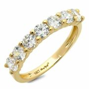 1.05 Ct Round Cut Natural Diamond Stone Solid 14k Yellow Gold Stackable Band