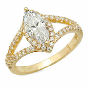 1.2 Ct Marquise Cut Natural Diamond Stone Solid 14k Yellow Gold Halo Ring