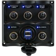 Sea-dog Water Resistant Toggle Switch Panel W/usb Power Socket 5 Toggle 424617-1