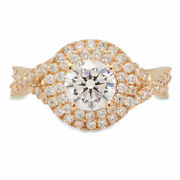 1.3 Ct Round Cut Natural Diamond Stone Solid 18k Yellow Gold Halo Ring