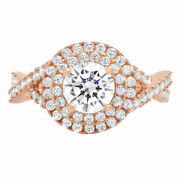 1.3 Ct Round Cut Natural Diamond Stone Solid 18k Rose Gold Halo Ring