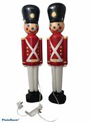 Vintage Lighted 31andrdquo Toy Soldier Blow Mold Christmas General Foam Lot 2 Usa