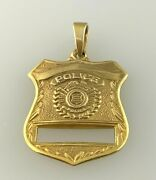 Police Badge Pendant Charm Career Professional Gift In 14k Solid Yellow Gold 2