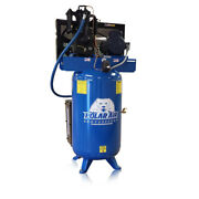 5hp Quiet Air Compressor Single Phase 2 Stage 80gallon Tank Vertical, Industrial