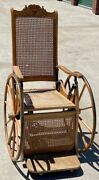 Antique Oak Cane Wheelchair Recliner With Rear Swivel Wheel Turn-of-the-century