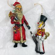 Vintage S.d.i. 1978 Blow Mold Plastic Santa Christmas Ornament And Toy Soldier