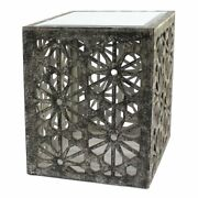 Homeroots 18 Floral Cube Modern Wood End Table In Gray/mirrored