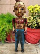 Indian Antique Handcrafted Wooden Painted Woman Standing Sculpture Statue