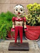 Antique Indian Handcrafted Wooden Painted Woman Standing Sculpture Statue