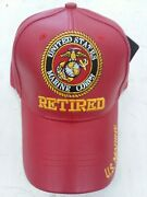 Us Marines Retired Military Baseball Cap Embroidered Red Pu Leather Usmc Hat