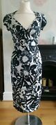 Long Tall Sally Black/grey Floral 50s Style Wiggle/pencil Dress Size 10 Free Pandp